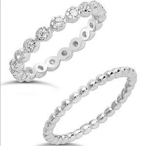 Sterling Forever Silver Stone Beaded Ring - Set